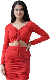 Texco Women Red Shired Knot Crop Top