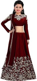 Femisha Creation Maroon Satin Embroidered Solid Designer Kids Girls Party Wear Semi Stitched Lehenga Choli .