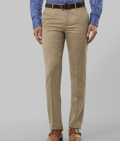 Haoser Poly cotton slim fit formal trousers for men | Beige Men's Pants for Daily Office
