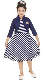 Digimart Girls White Stripe Dress With Blue Jacket