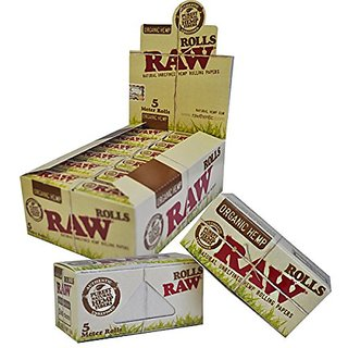 RAW Organic Hemp 5 Meters Rolling Papers Roll Pack of 18 Rolls