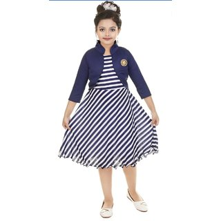 Digimart White Stripe With Blue Jacket Party Wear For Girls