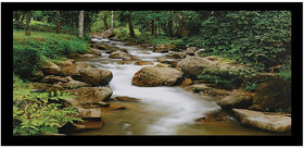 Vastu Forest River Sparkle Print Sticker Poster Without Frame (20 X 40 Inches) Wall Art Dcor