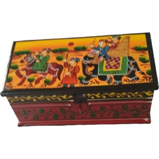 METALCRAFTS Wooden box, mango wood, hand painted, 6x3x3 inch, 15 cm