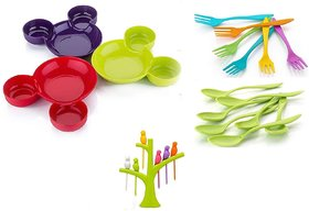 Unbreakable Eco-Friendly Children's Mickey Minnie Shaped Serving Food Plate with Spoon  Fork (set of 3) and Fruit Fork