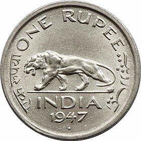 RARE 1 RUPEE BIG COIN YEAR 1947 GEORGE VI KING EMPEROR