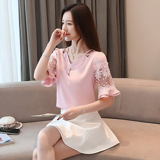 Raabta RWT-01015 Baby Pink Top With Net And Bell Sleeve Top