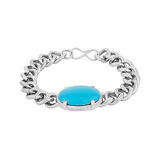 Salman Khan Inspired Turquoise Bracelet for Men Silver Chain Bracelet Men's Jewelry for Gifting