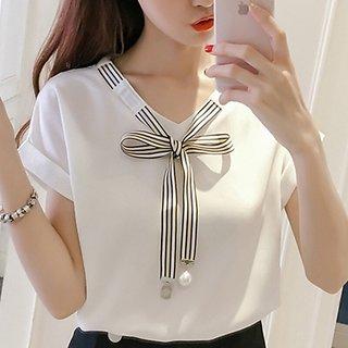 Raabta RWT-01014 White Top With Strip Tie Top