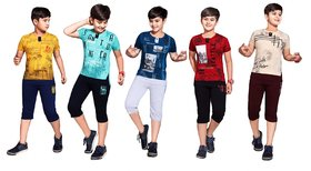 Kavin's 3/4th Pant with Half-Sleeve Tees for Kids, Pack of 5, Unisex, Multicolored-Spencer