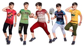 Kavin's 3/4th Pant with Half-Sleeve Tees for Kids, Pack of 5, Unisex, Multicolored-Nick