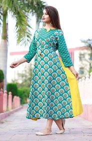 Girls Cotton Kurta With 3/4 Sleeve Mint Blue Color