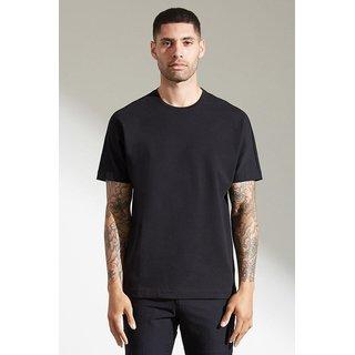 PAUSE Black Solid Round Neck Slim Fit Half Sleeve Men's T-Shirt