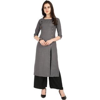 Vkaran Grey Slub Cotton Embellished Kurta With Palazzo