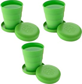 Unbreakable Magic Cup/Folding Glass/Pocket Glass for Traveling/Picnic Glass Set pack of 3 (300 ml, Plastic)