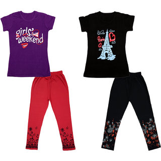 IndiWeaves Girls Cotton Printed T-Shirts and Capri (Set 2)