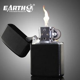 Earth Metal Black Lighter (Without Fuel)