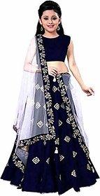 F Plus Fashion Girls  Banglory Satin Embroidered Semi Stitched Wedding Wear Lehenga Choli(Suitable To 8-13 Year Girls)