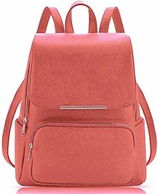 Leather Retail Women Backpack with Beautiul Peach Color Casual Backpak