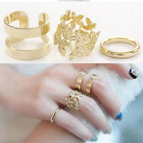 Imported Floral Trendy Sparking stones designer adjustable Ring for Women and Girls Valentines Annversary Gift Pack of 3