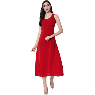 NUN Fashion Women Polyester Fabric Sleeveless Round Neck Red Color Maxi Fit & Flare Dress