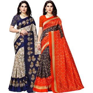 Anand Sarees MultiColor Bhagalpuri Silk Printed work Pack Of 2 Sarees