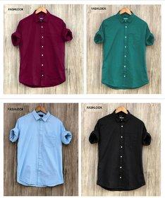 Pack Of 4 Fashlook Multicolor Slim Fit Shirts For Men