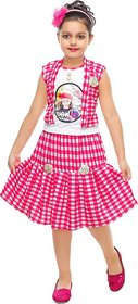 SBN Girls Pink Checked Cotton Dress
