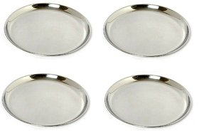 AH Stainless Steel Heavy Guage  Mirror Finish  Dinner Plates - 12 inch Dia 30 cm  Full Plate - Set of 4 pcs  - 12 inch