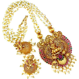 Multi-Color Stone Gold Plated Long Haram Necklace Set for Women
