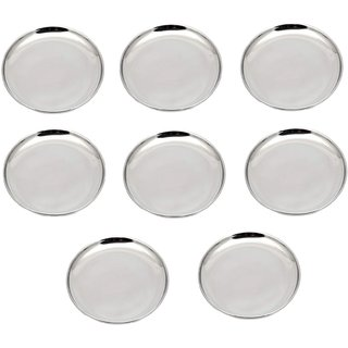 AH Stainless Steel Heavy Guage  Mirror Finish  8.5 inch Dia 21 cm  Quarter  Plate - Set of 8 pcs  - 8.5 inch