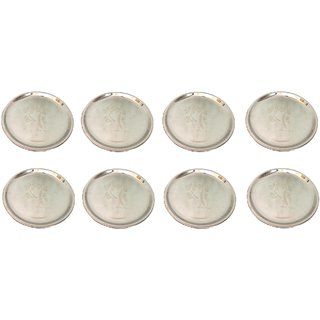 AH Stainless Steel Heavy Guage  Mirror Finish  Dinner Plates - 12 inch Dia 30 cm Full Plate - Set of 8 pcs  - 12 inch
