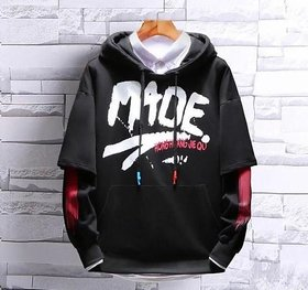 Trendyz Cotton Black Hooded Sweatshirts For Men