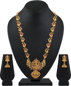 Asmitta wedding wear Gold toned Temple Necklace set for women