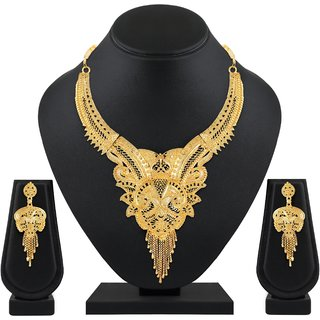 Asmitta Traditional One Gram gold plated choker Necklace Set for women