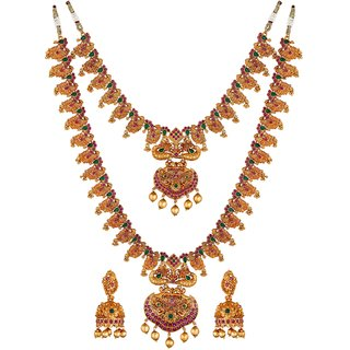 Asmitta Peacock Inspired Gold toned Wedding wear Double Necklace Set for Women