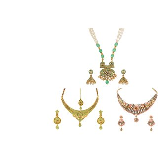 Kord Store Round Shape Design Mint Blue Green Pink Colour Flower Choker Combo Of 3 Necklace Set For Women