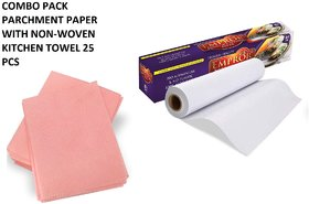 Aggarwal  Co. Combo Pack Parchment Paper 20 Mtr + Free 5 Mtr with Non-Woven Kitchen Towel Pink 25 PCS