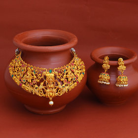Sukkhi Fascinating Gold Plated Temple Choker Necklace Set for Women