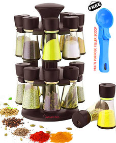 Darkpyro Brown Plastic Revolving 16 Piece Spice Rack