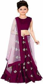 F Plus Fashion Girls Taffeta Satin Simple Embroidered Wedding Wear Lehenga Choli (Size  8-13 Year Girls)