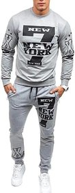 Trendyz Men Grey Trackpant With Full Sleeve T-Shirt