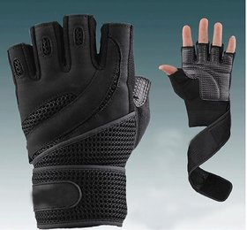 Gym Gloves With Long Wrist Support Gym Fitness Gloves (Size-M) Black