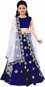 F Plus Fashion Girls Blue Taffeta Satin Embroidered Wedding Wear Lehenga Choli