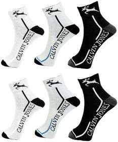 CalvinJones Unisex Cotton Ankle Socks - Pack of 6