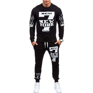 Trendyz Men Black Trackpant With Full Sleeve T-Shirt