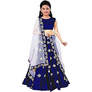 F Plus Fashion Girls Taffeta Satin Simple Embroidered Wedding Wear Lehenga Choli(Suitable To 8-13 Year Girls)