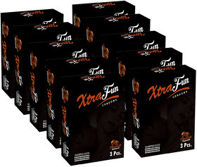 Xtrafun Dotted Rubber Latex With Chocolate Flavour (3X10)-Pack Of 10