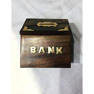 Handmade Wooden Money Bank Hut Style Kids Piggy Coin Box (4 Inch)