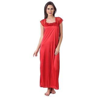 RB Red color women Satin Long Nightwear